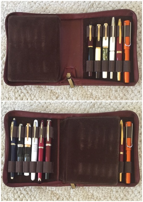 My favorite fountain pen case---carries 12 pens at a time!