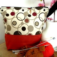Project Bag - Retro Polka Dots - For Knitting and Crochet Projects