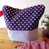 Knitting Wristlet Project Bag Large Zippered - Blue and Polka Dots - For Knitting and Crochet Projects
