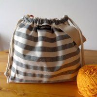 Striped Wristlet Drawstring Knitting Project Bag - Gray/White - Crafts Bag