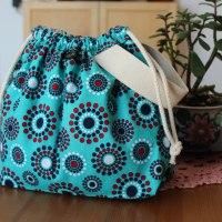 Drawstring Knitting Project Bag - Blue Teal Circles -