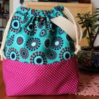 Wristlet Drawstring Knitting Project Bag - Retro Polka