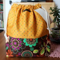 Drawstring Knitting Project Bag - Floral Polka