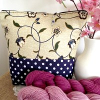 Wristlet Knitting Project Bag Large Zippered - Floral Blue - Crafts Bag with zipper closure