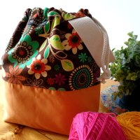 Drawstring Wristlet Project Bag - Floral Brown Yellow - Luxury Bag