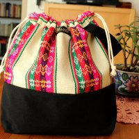 Drawstring Wristlet Knitting Project Bag - Authentic Peruvian Manta Wool Fabric - Large Crafts Bag