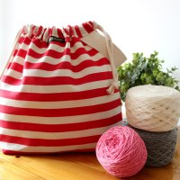 Striped Wristlet Drawstring Knitting Project Bag - Red/White - Crafts Bag