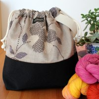 Drawstring Wristlet Project Bag - Floral Gray
