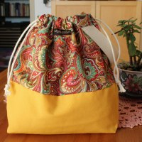 Drawstring Wristlet Knitting Project Bag - Yellow Paisley - Luxury Bag