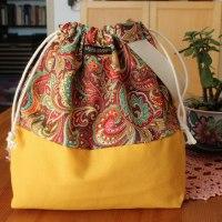 Drawstring Wristlet Knitting Project Bag - Yellow Paisley - Luxury Bag