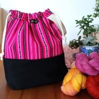 Drawstring Wristlet Knitting Project Bag Fuschia Stripes - Authentic Peruvian Manta Wool Fabric - Crafts Bag