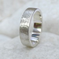 6mm Hammered Flat Wedding Ring, 18ct Gold or Platinum ...