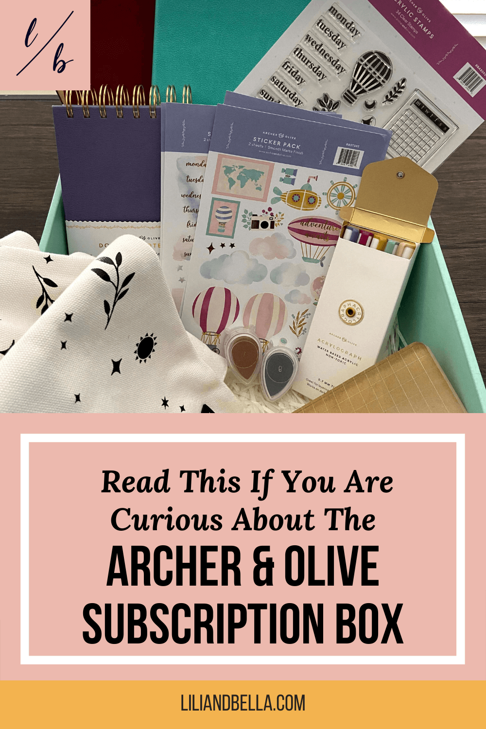 Archer & Olive subscription box showing notebooks, stamps, acrylographs, tote bag, and stickers that are included.