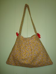 Yellow and Red Floral Cotton Canvas Purse with Red Bows
