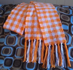 Orange and White Checkered Scarf