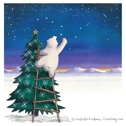 christmas cards illustrated original hand drawn lilian leahy polar bears northpole christmas tree lights stars netherlands ecoline