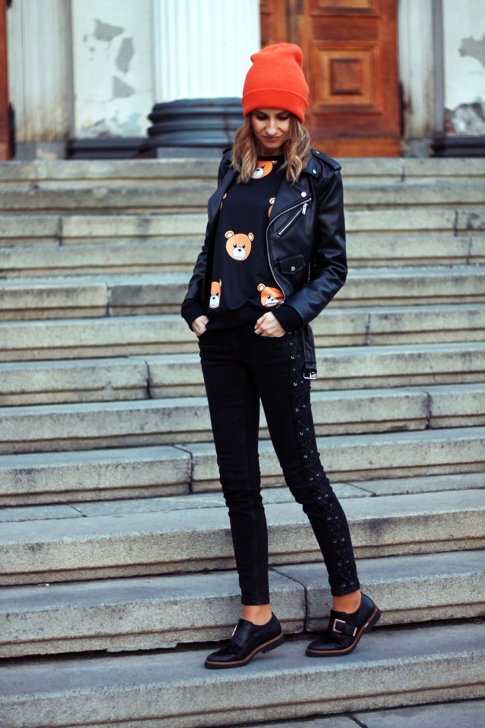 fashion love street style grunge bear sweatshirt zara tumblr girl orange