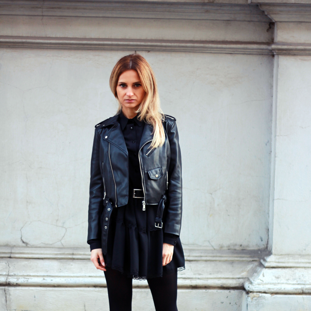 black dress zara leather jacket blonde tumblr girl look lookbook street style