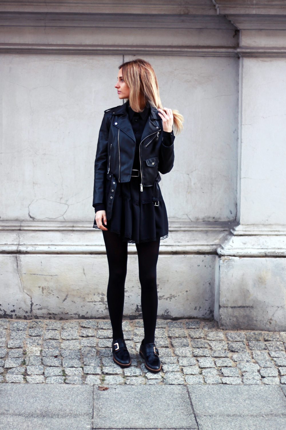 Black dress tumblr - Black Dress Zara Leather Jacket Blonde Tumblr Girl Look Lookbook What To Wear