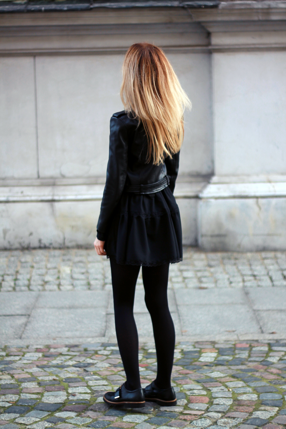 black dress zara leather jacket blonde tumblr girl look outfit