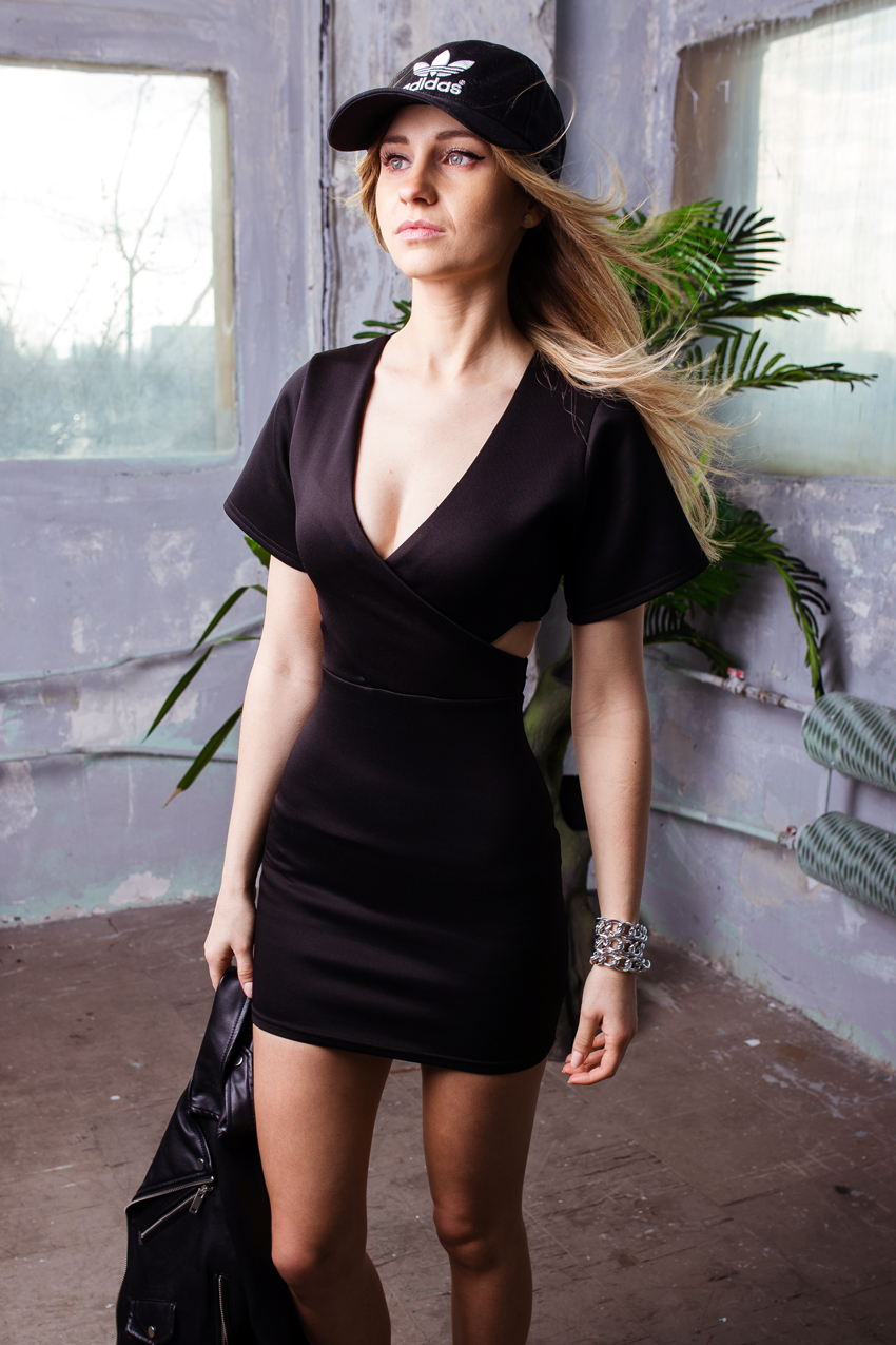 black dress ootd outfit missguided adidas cap nik white sneakers street style tumblr girl blonde