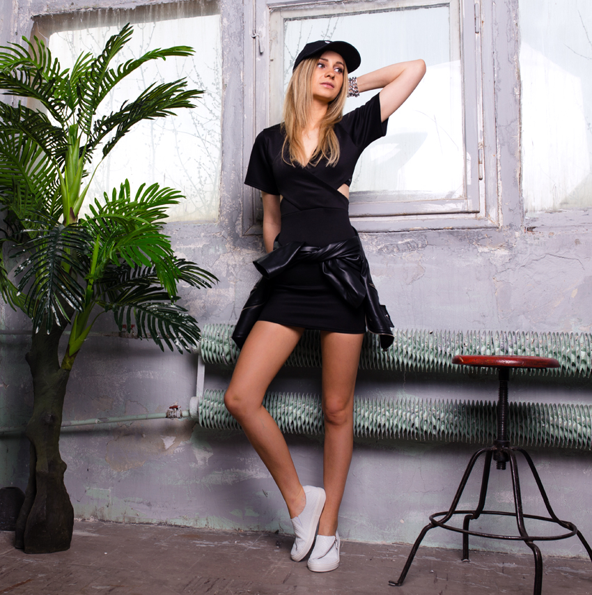 black dress ootd outfit missguided adidas cap tumblr girl street style blonde girl