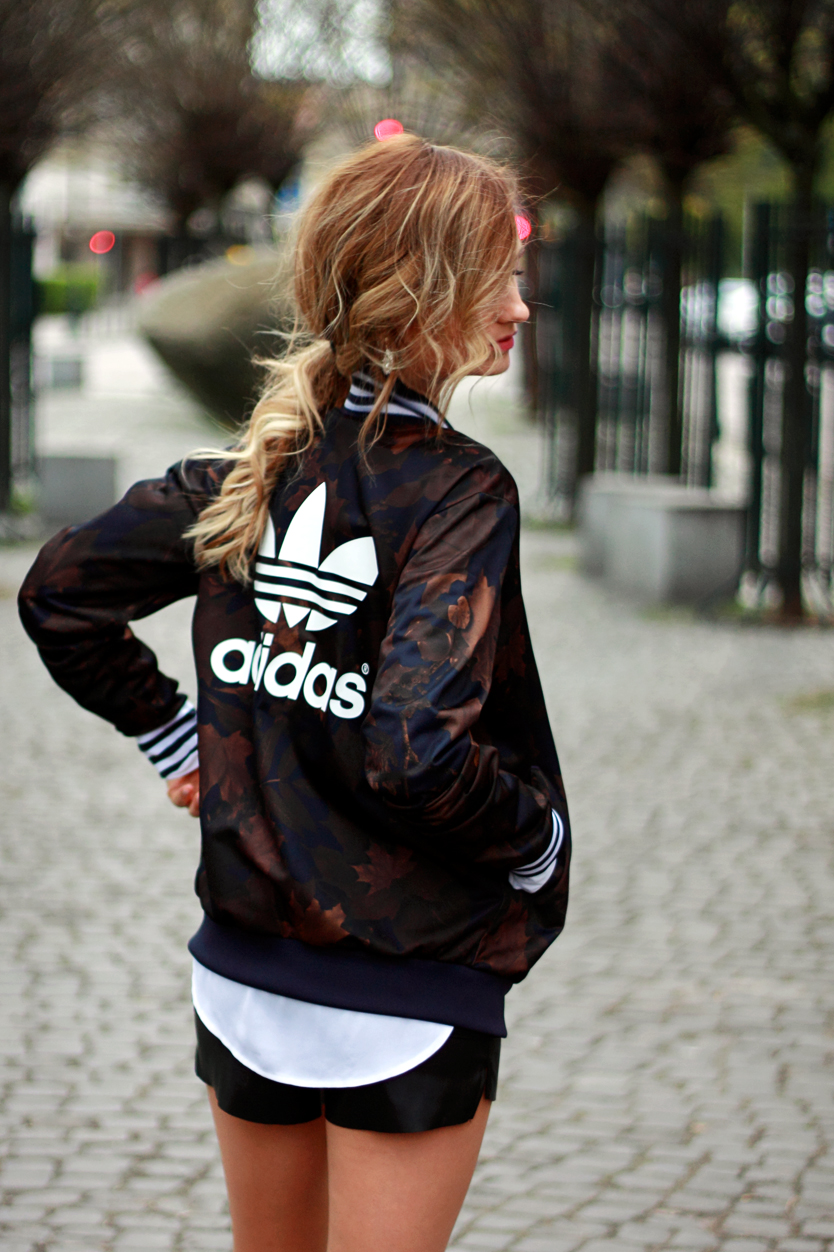 street style tumblr girl pretty blonde ootd look lookbook outfit adidas jacket fashion best
