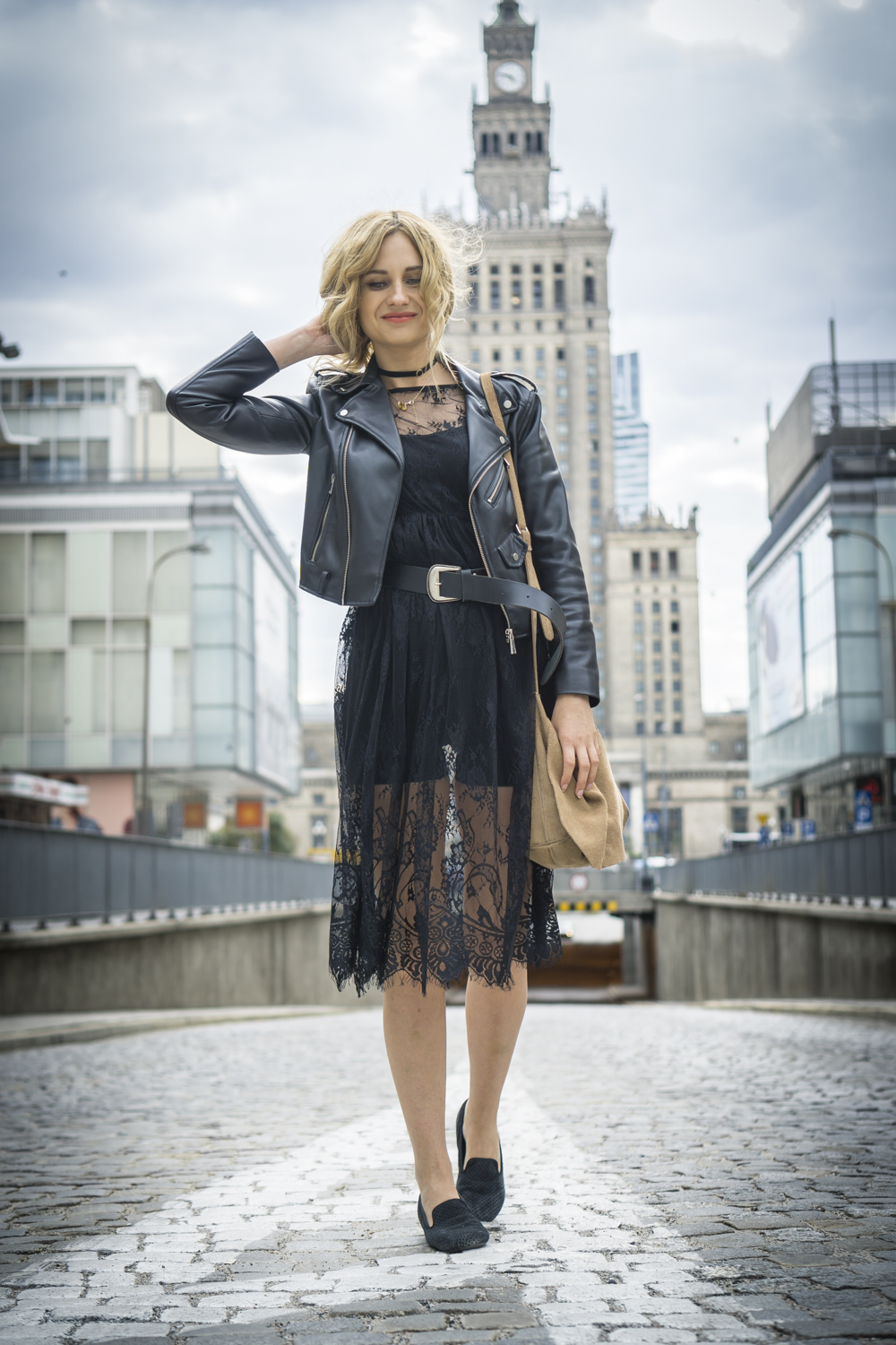 black lace dress casual chic street style fashion blonde tumblr girl look it girl lookbook ootd outfit