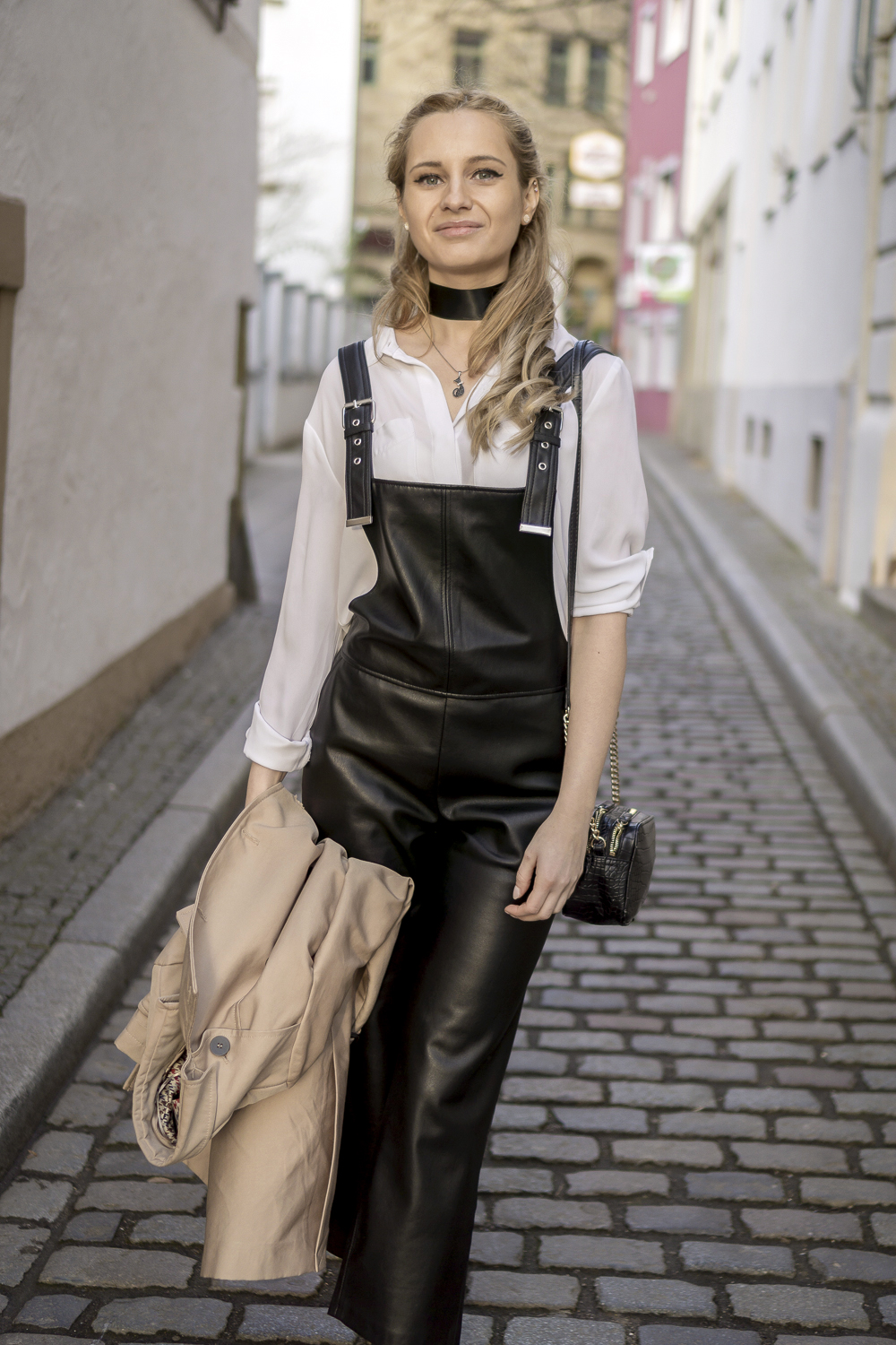 Ootd Black Dungarees Amp Classic White Shirt Street Style
