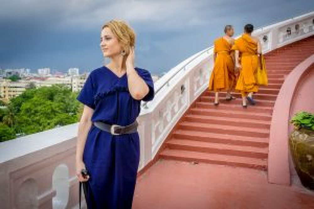 blonde girl with monks