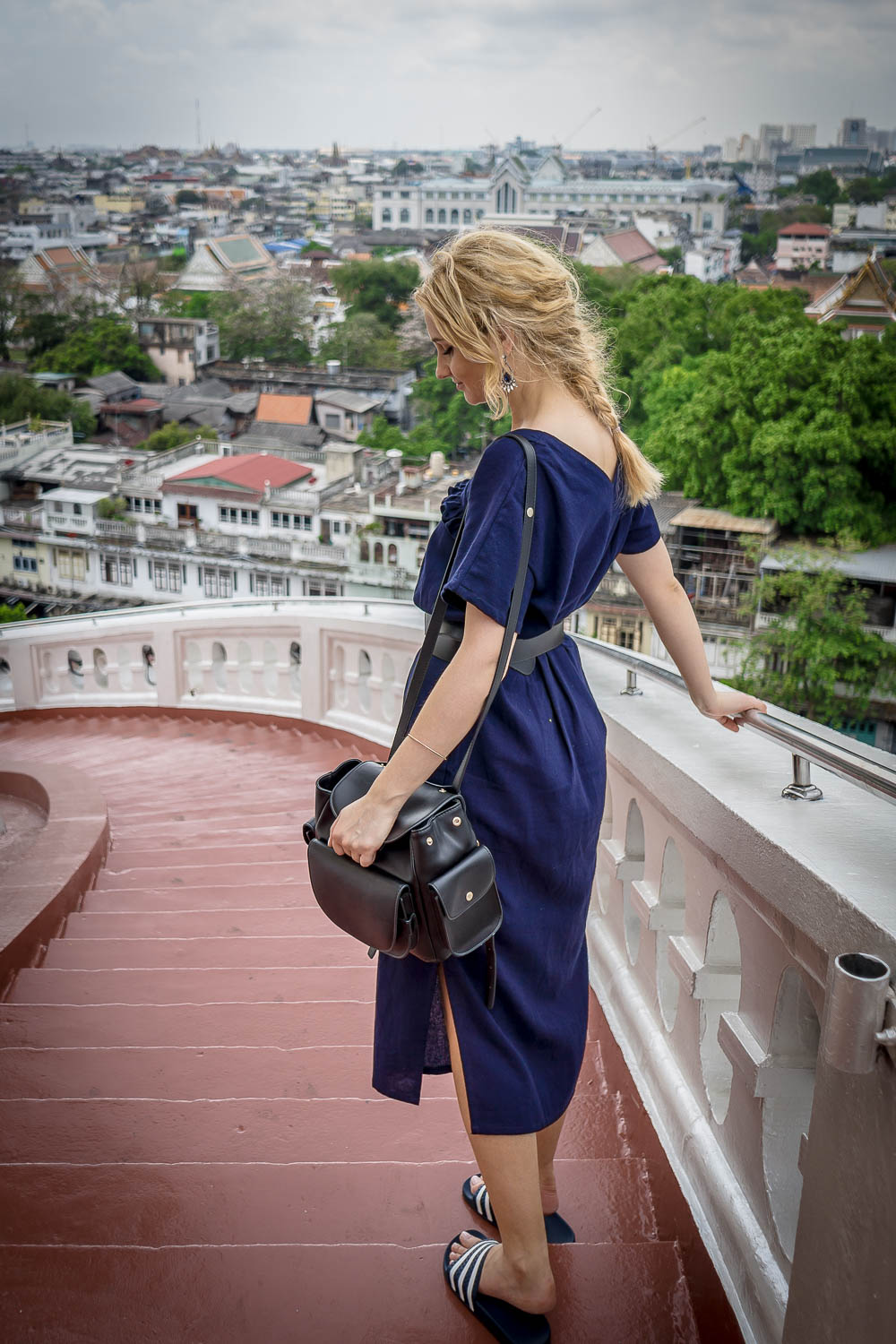 blonde girl in Thailand, Bangkok street style fashion