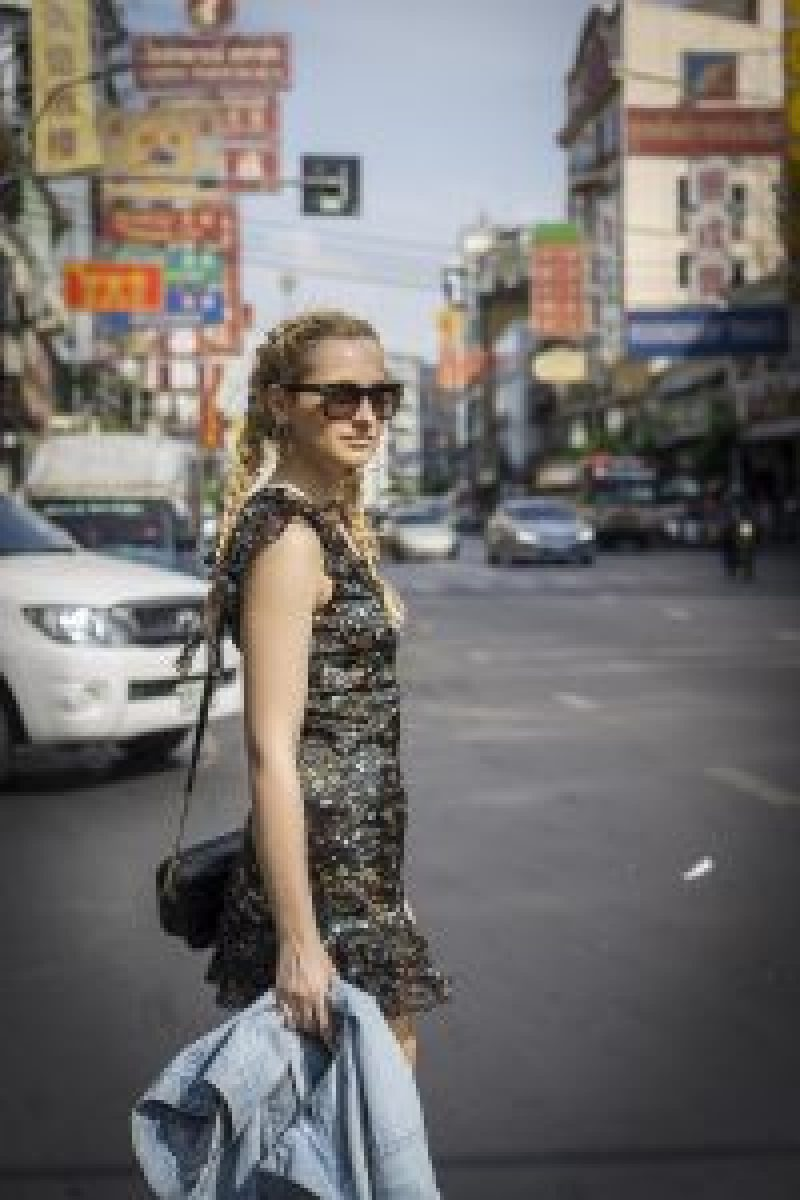 street style fashion outfit inspiration flower dress denim jacket travel thailand girl