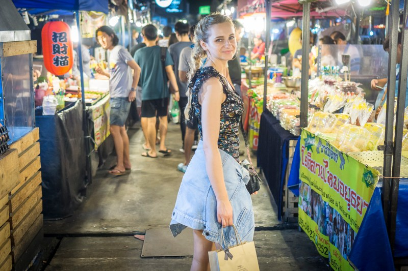 street style fashion outfit inspiration flower dress denim jacket travel thailand girl