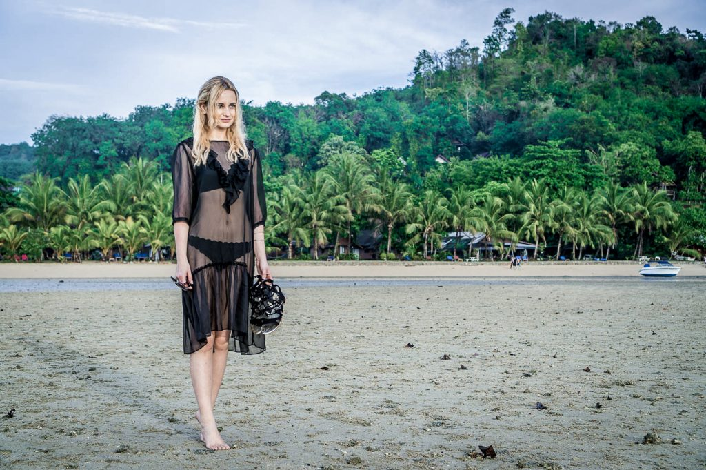 sunrise beach look thailand island holidays ootd beach hair style blonde girl hm sheer dress