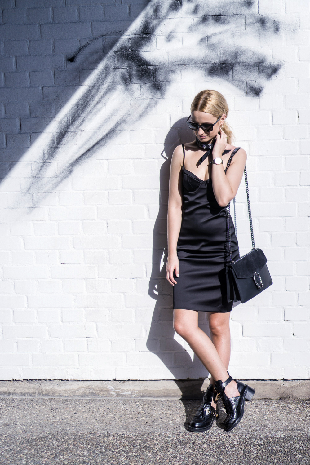 wearing black dress hm balenciaga boots blonde bloger street style ootd fashion outfit tumblr girl