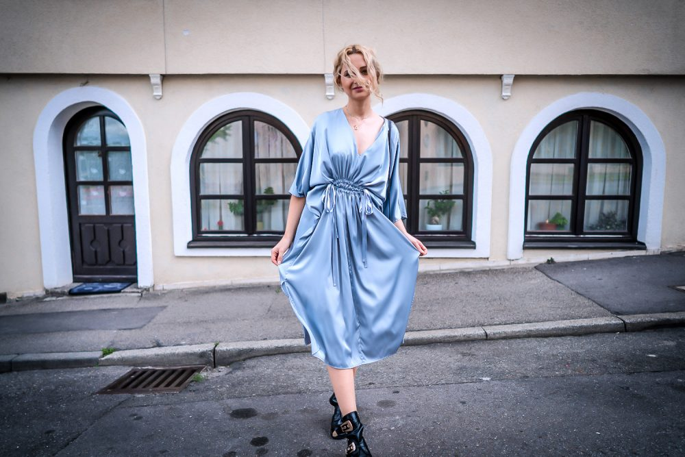 hm silver silk midi dress romantic girl street style look ootd outfit