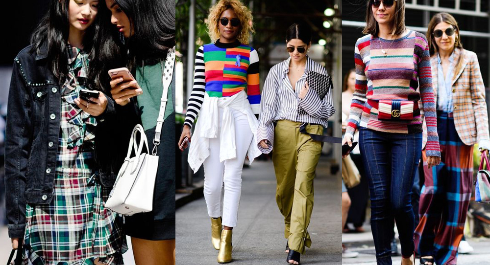 best street style moments nyfw ss2018 chequere stripe trend