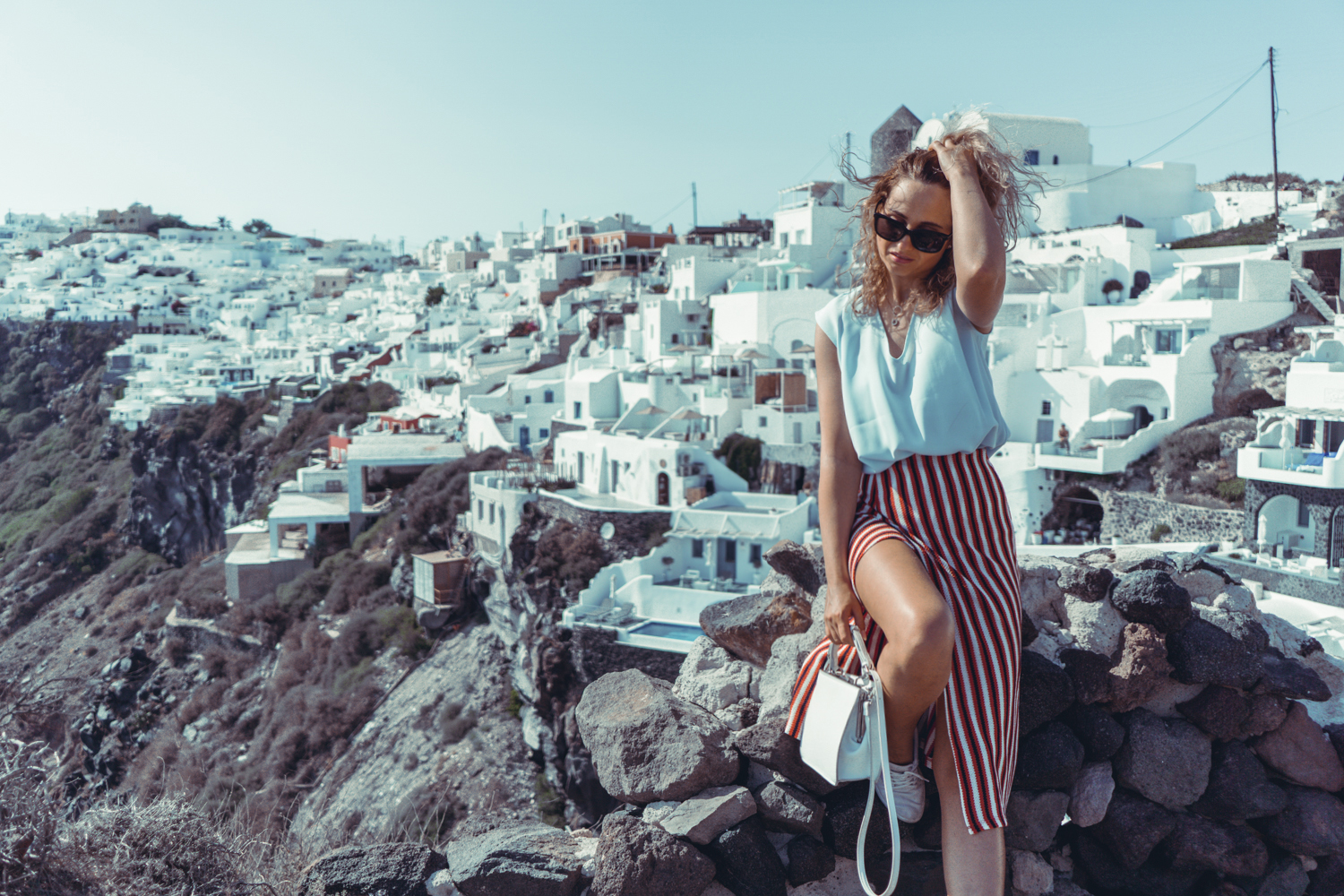 ca38fbe2f965 fira greece travel summer holiday fashion ootd street style outfit blonde  tumblr girl lookbook striped skirt vogue