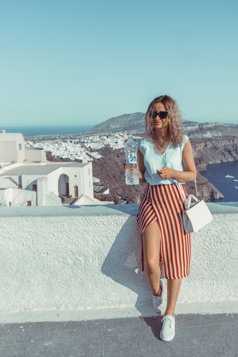 3d051c0216dd fira greece travel summer holiday fashion ootd street style outfit blonde  tumblr girl stripe skirt