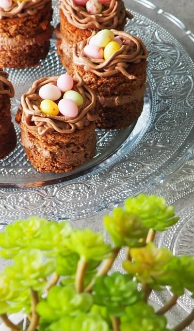 Minis gâteaux au chocolat : Nid de Pâques #Pâques