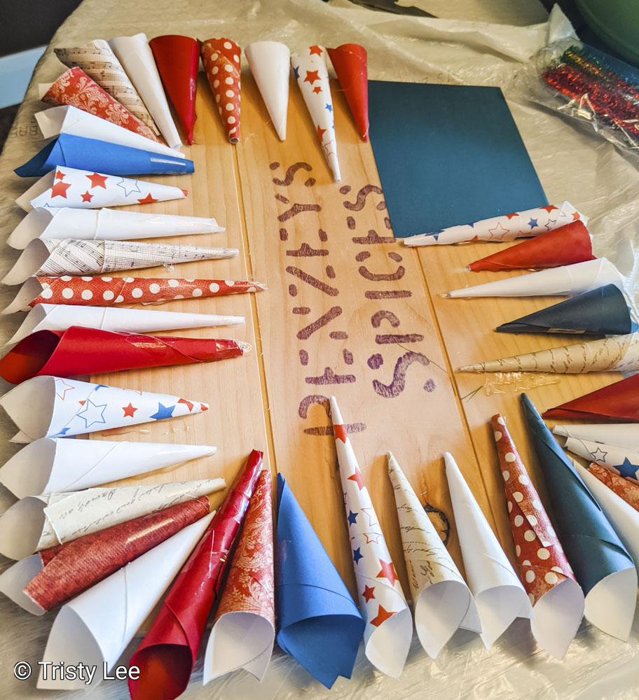 Row 1 of paper cones