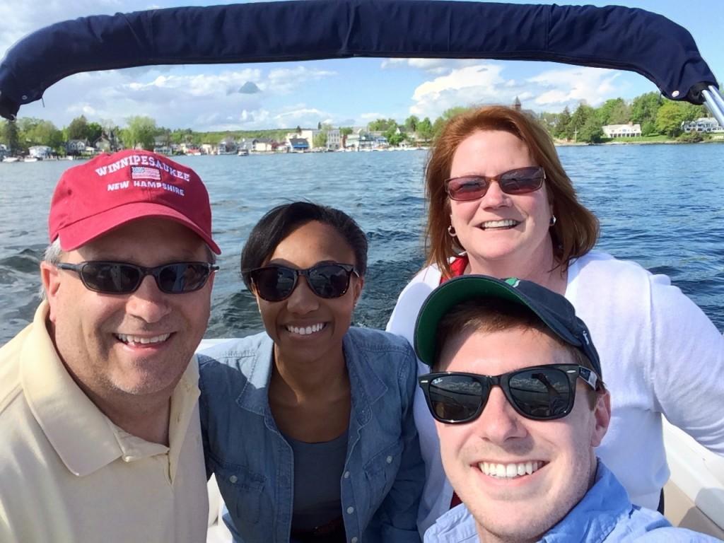 Family Selfie in Wolfeboro harbor.