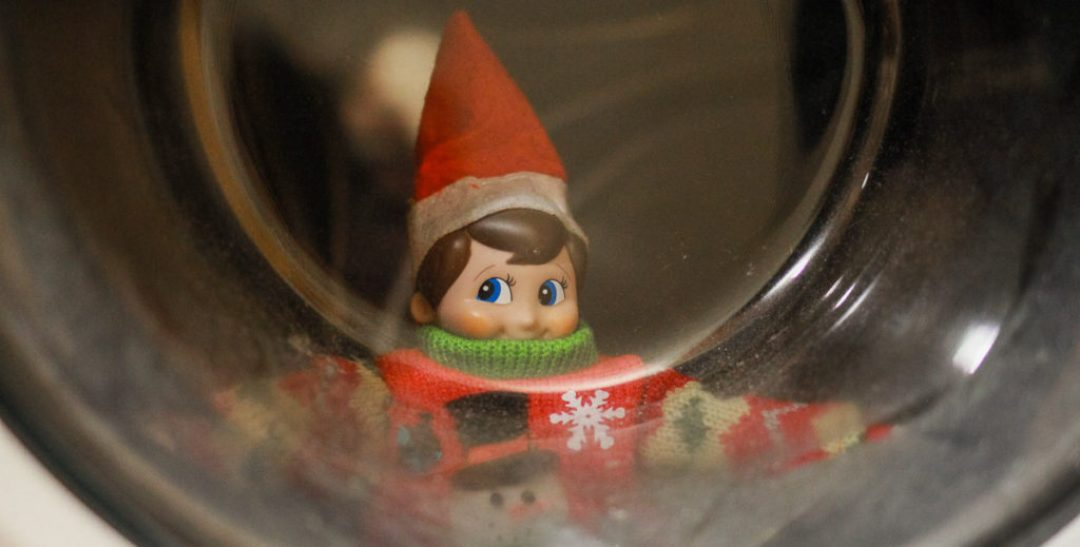 Elf on the Shelf in the Washer
