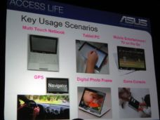 "Asus slide showing ""key usage scenerios"" for touchscreen netbooks"