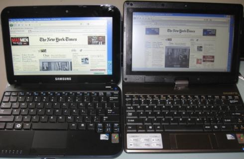 Left: Samsung Go / Right: Gigabyte TouchNote T1028X