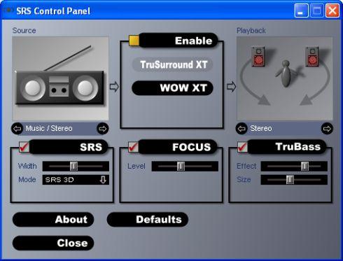srs control panel