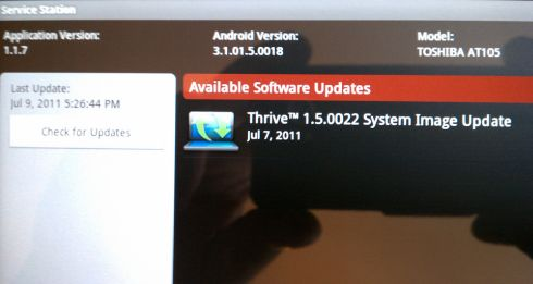 Toshiba Thrive system update
