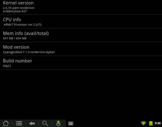 HP TouchPad with CyanogenMod Alpha 3