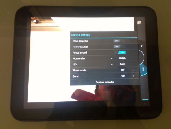 HP TouchPad camera