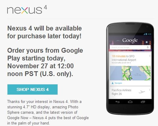 Google Nexus 4 availability